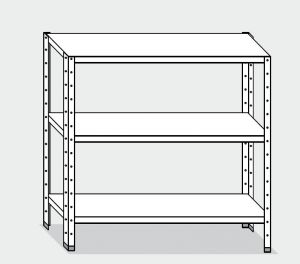 EU77464-16 scaffale con 3 ripiani lisci ECO cm 160x40x150h