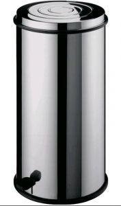 AV4660 Pattumiera cilindrica acciaio inox con cestello interno e pedale 30 litri
