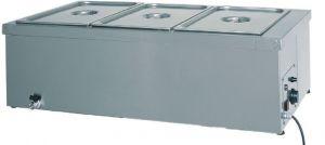 BM1784 Tavola calda banco bagnomaria inox 3x1/1GN rubinetto 110x60x32h