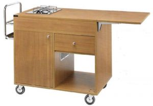 CF1202 Flambé wood trolley 2 plates with 1 separate fire