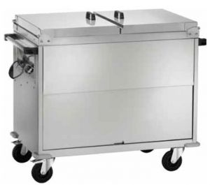 CT1765 Bain-marie trolley Cabinet AISI 304 stainless steel Lid 2x1/1GN 96x68x102h