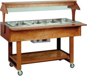 ELC2828 Espositore legno caldo bagnomaria (+30°+90°C) 4x1/1GN cupola plx tettoia