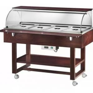 ELC2834W Hot display case bain marie cart wood (+30°+90°C) 4x1/1GN