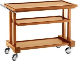 LP850 Walnut stained solid wood service trolley 3 shelves 81x55x82h