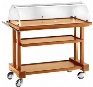 LPC1050 Walnut stained wood trolley 3 floors dome 115x55x108h