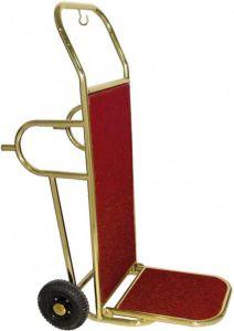 PV2002 Carrello portavaligie ottonato 2 ruote con piedi appoggio