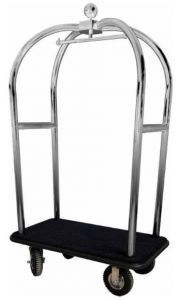 PV2021I Luggage trolley with stainless steel clothing stands pneumatic wheels