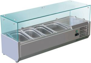 VRX1200-380-FC AISI 201 stainless steel refrigerated display case for basins