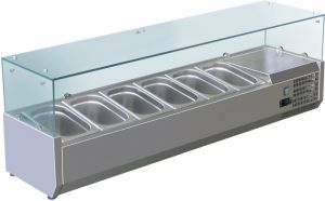 VRX1400-330-FC AISI 201 stainless steel refrigerated display case for basins