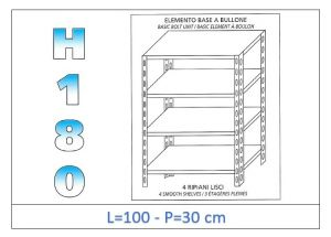 IN-1846910030B Shelf with 4 smooth shelves bolt fixing dim cm 100x30x180h