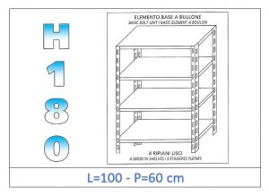 IN-1846910060B Shelf with 4 smooth shelves bolt fixing dim cm 100x60x180h