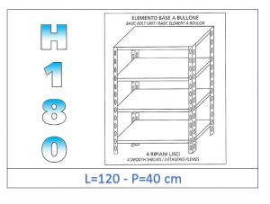 IN-1846912040B Shelf with 4 smooth shelves bolt fixing dim cm 120x40x180h