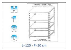 IN-1846912050B Shelf with 4 smooth shelves bolt fixing dim cm 120x50x180h