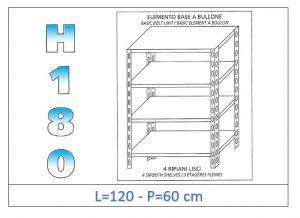 IN-1846912060B Shelf with 4 smooth shelves bolt fixing dim cm 120x60x180h