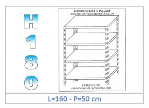 IN-1846916050B Shelf with 4 smooth shelves bolt fixing dim cm 160x50x180h