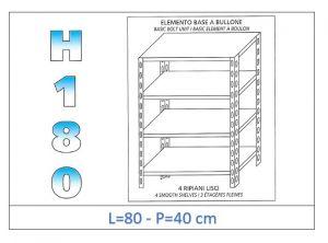 IN-184698040B Scaffale a 4 ripiani lisci fissaggio a bullone dim cm 80x40x180h