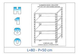 IN-184698050B Scaffale a 4 ripiani lisci fissaggio a bullone dim cm  80x50x180h