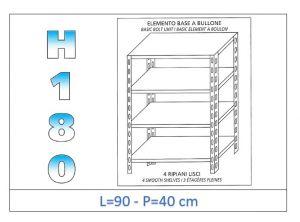 IN-184699040B Scaffale a 4 ripiani lisci fissaggio a bullone dim cm 90x40x180h