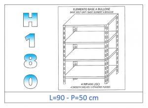 IN-184699050B Scaffale a 4 ripiani lisci fissaggio a bullone dim cm  90x50x180h