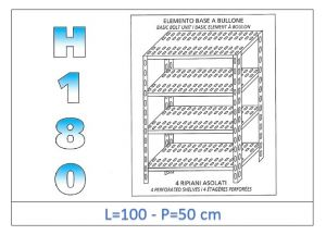IN-1847010050B Shelf with 4 slotted shelves bolt fixing dim cm 100x50x180h
