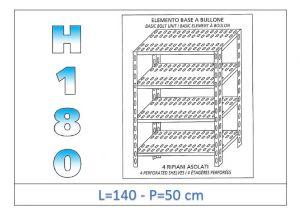 IN-1847014050B Scaffale a 4 ripiani asolati fissaggio a bullone dim cm 140x50x180h