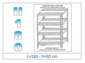 IN-1847016050B Scaffale a 4 ripiani asolati fissaggio a bullone dim cm 160x50x180h