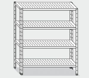 EU78364-12 scaffale con 4 ripiani forati  ECO cm 120x40x200h