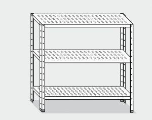 EU78463-10 scaffale con 3 ripiani forati ECO cm 100x30x150h