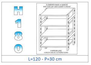 IN-18G46912030B Scaffale a 4 ripiani lisci fissaggio a gancio dim cm 120x30x180h