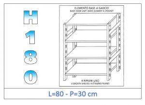 IN-18G4698030B Scaffale a 4 ripiani lisci fissaggio a gancio dim cm 80x30x180h