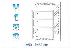 IN-18G4699060B Scaffale a 4 ripiani lisci fissaggio a gancio dim cm 90x60x180h