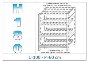 IN-18G47010060B Scaffale a 4 ripiani asolati fissaggio a gancio dim cm 100x60x180h