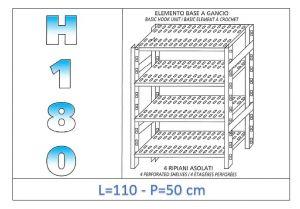 IN-18G47011050B Scaffale a 4 ripiani asolati fissaggio a gancio dim cm 110x50x180h