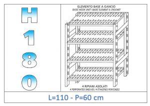 IN-18G47011060B Scaffale a 4 ripiani asolati fissaggio a gancio dim cm 110x60x180h