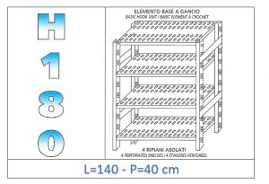 IN-18G47014040B Scaffale a 4 ripiani asolati fissaggio a gancio dim cm 140x40x180h