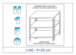 IN-B3696030B Shelf with 3 smooth shelves bolt fixing dim cm 60x30x150h
