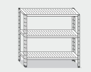 EU78466-13 scaffale con 3 ripiani forati ECO cm 130x60x150h