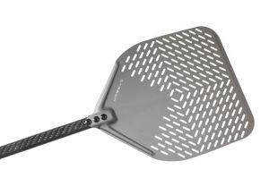C-32RF Pala pizza alluminio forata rettangolare 33x33 cm, manico in carbonio 150 cm
