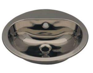 LX1230 Lavabo circolare con foro rubinetto in acciaio inox 414x490x160 mm - LUCIDO -