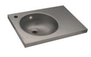 LX1580 Lavabo con piano in acciaio inox 700X350X125 mm - SATINATO -