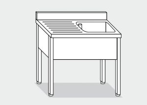 EUG1127-10 lavatoio su gambe ECO cm 100x70x85h 1v sg sx