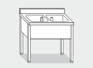 EUG1137-13 lavatoio su gambe ECO cm 130x70x85h 2 vasche