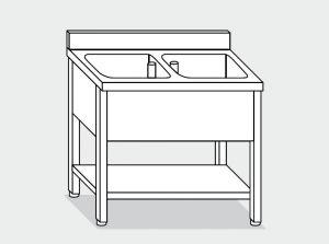 EUG1236-10 lavatoio su gambe ECO cm 100x60x85h 2 vasche -ripiano inferiore