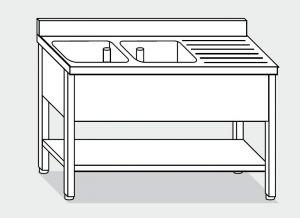 EUG1247-16 lavatoio su gambe ECO cm 160x70x85h 2v sg dx -ripiano inferiore