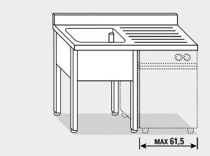 EUG1317-13 lavatoio per lavast su gambe ECO cm 130x70x85h 1v sg dx