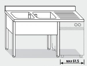 EUG1347-16 lavatoio per lavast su gambe ECO cm 160x70x85h 2v sg dx