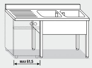 EUG1357-16 lavatoio per lavast su gambe ECO cm 160x70x85h 2v sg sx