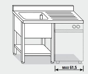 EUG1416-13 lavatoio per lavast. su gambe ECO cm 130x60x85h 1v sg dx - ripiano inferiore