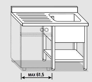 EUG1426-13 lavatoio per lavast. su gambe ECO cm 130x60x85h 1v sg sx - ripiano inferiore