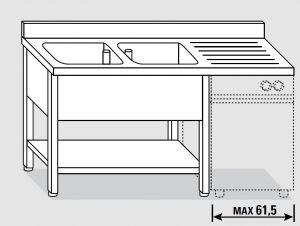 EUG1446-18 lavatoio per lavast. su gambe ECO cm 180x60x85h 2v sg dx - ripiano inferiore